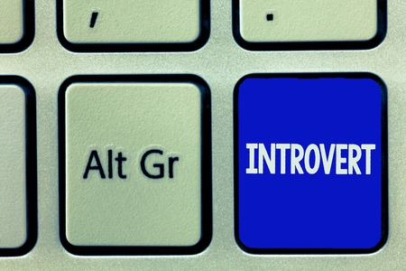 Writing note showing Introvert. Business photo showcasing tend to be inward turning or focused more internal thoughts.