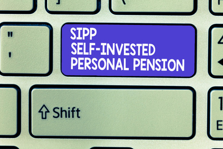 Word writing text Sipp Self Invested Personal Pension. Business concept for Preparing the future Save while young.