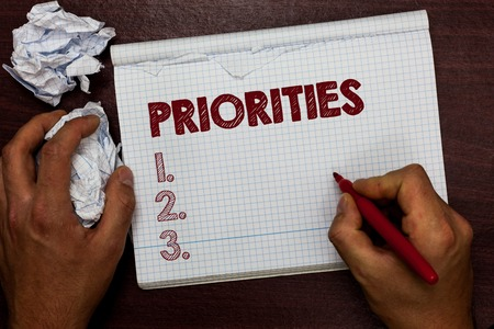 Foto de Word writing text Priorities. Business concept for Things that are regarded as more important urgent than others Man holding marker notebook page crumpled papers several tries mistakes - Imagen libre de derechos