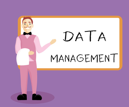 Writing note showing Data Management. Business photo showcasing The practice of organizing and maintaining data processes.