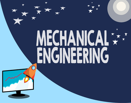 Photo pour Writing note showing Mechanical Engineering. Business photo showcasing deals with Design Manufacture Use of Machines. - image libre de droit