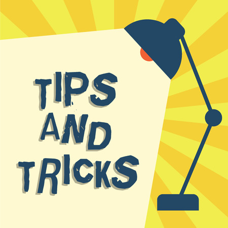 Foto de Writing note showing Tips And Tricks. Business photo showcasing helpful advices that makes certain action easier to do. - Imagen libre de derechos