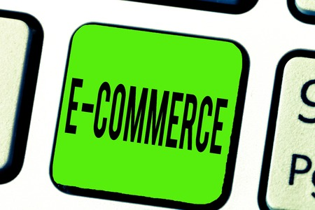 Text sign showing E Commerce. Conceptual photo Commercial transactions conducted electronically on the Internet.