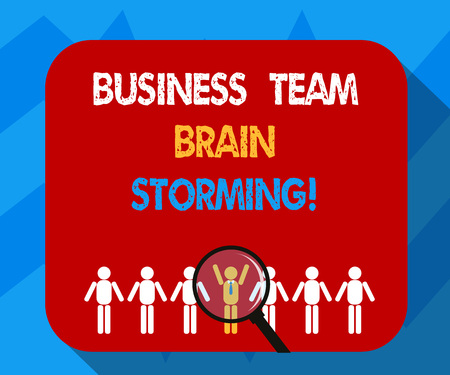 Text sign showing Business Team Brain Storming. Conceptual photo Team work corporate group working meeting Magnifying Glass Over Chosen Man Figure Among the Hu analysis Dummies Line Up