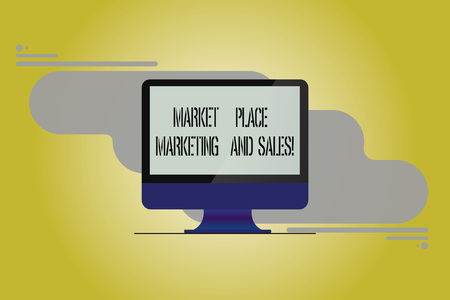 Conceptual hand writing showing Market Place Marketing And Sales. Business photo showcasing Online modern shopping purchasing Mounted Computer Monitor Blank Screen on Abstract Background
