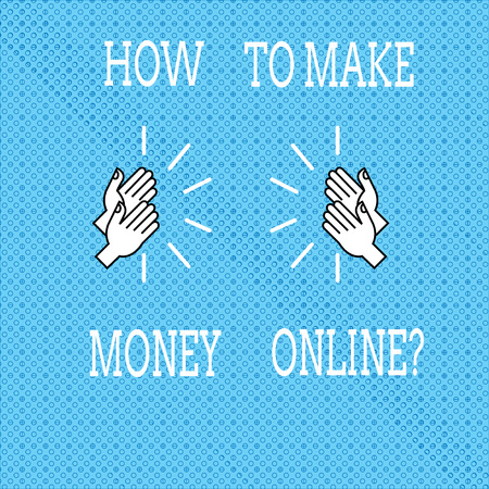 Text sign showing How To Make Money Onlinequestion. Conceptual photo Strategies to get earnings on the internet Drawing of Hu analysis Hands Clapping with Sound icon on Seamless Tiny Circles