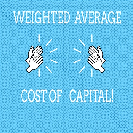 Text sign showing Weighted Average Cost Of Capital. Conceptual photo Wacc financial business indicators Drawing of Hu analysis Hands Clapping with Sound icon on Seamless Tiny Circles