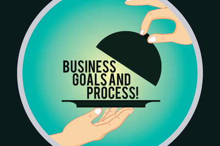 Word writing text Business Goals And Process. Business concept for Working strategies accomplish objectives Hu analysis Hands Serving Tray Platter and Lifting the Lid inside Color Circle