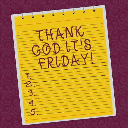 Photo pour Writing note showing Thank God It S Is Friday. Business photo showcasing Start of the end of the week be cheerful enjoy Lined Spiral Top Color Notepad photo on Watermark Printed Background - image libre de droit