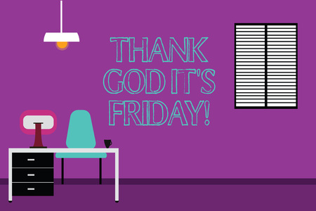 Photo pour Handwriting text writing Thank God It S Is Friday. Concept meaning Start of the end of the week be cheerful enjoy Work Space Minimalist Interior Computer and Study Area Inside a Room photo - image libre de droit