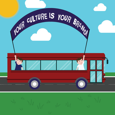 Foto de Text sign showing Your Culture Is Your Brand. Conceptual photo Knowledge Experiences are a presentation card Two Kids Inside School Bus Holding Out Banner with Stick on a Day Trip - Imagen libre de derechos