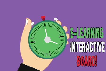 Handwriting text E Learning Interactive Board. Concept meaning integrated set of interactive online services Hu analysis Hand Holding Mechanical Stop Watch Timer with Start Stop Button