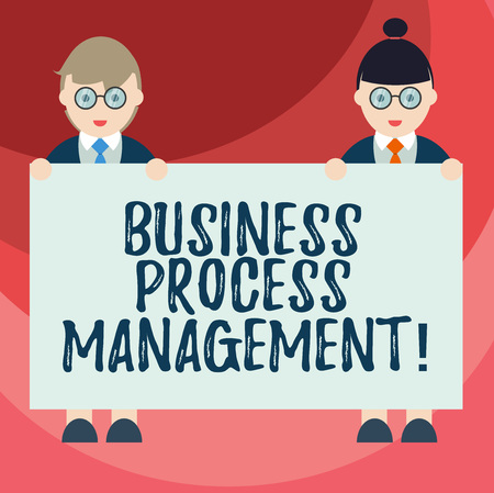 Text sign showing Business Process Management. Conceptual photo Discipline of improving a business process Male and Female in Uniform Standing Holding Blank Placard Banner Text Space