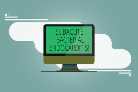 Conceptual hand writing showing Subacute Bacterial Endocarditis. Business photo showcasing infection of the inner lining of the heart Mounted Computer Monitor Blank Screen on Abstract Background