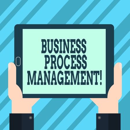 Text sign showing Business Process Management. Conceptual photo Discipline of improving a business process Hu analysis Hand Holding Blank Screen Tablet Smartphone Display Unit photo