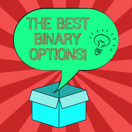 Conceptual hand writing showing The Best Binary Options. Business photo showcasing Great financial option fixed monetary amounts Idea icon in Blank Halftone Speech Bubble Over Carton Box