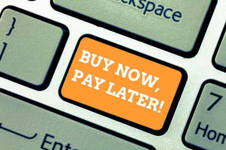 Photo pour Writing note showing Buy Now Pay Later. Business photo showcasing Credit to purchase things payment time after buying Keyboard key Intention to create computer message pressing keypad idea - image libre de droit