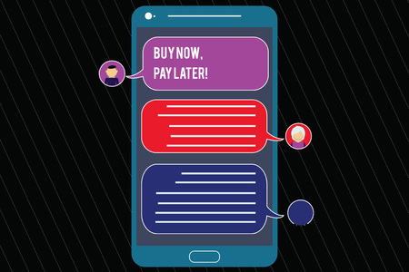 Photo pour Writing note showing Buy Now Pay Later. Business photo showcasing Credit to purchase things payment time after buying Mobile Messenger Screen with Chat Heads and Blank Color Speech Bubbles - image libre de droit