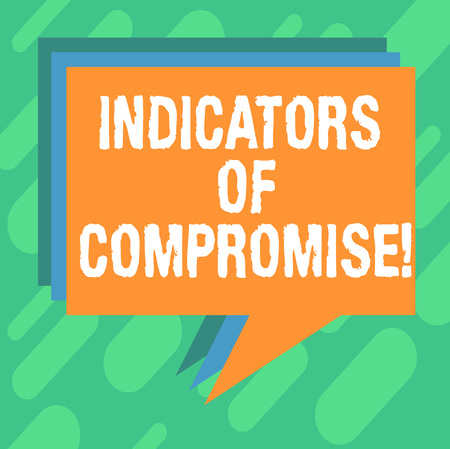 Conceptual hand writing showing Indicators Of Compromise. Business photo showcasing artifact observed on a network Forensic data Stack of Speech Bubble Different Color Piled Text Balloon