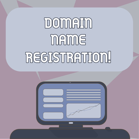 Writing note showing Domain Name Registration. Business photo showcasing process of reserving a name on the Internet Mounted Computer Screen with Line Graph on Desk Blank Color Text Box