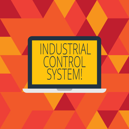 Word writing text Industrial Control System. Business concept for integration of hardware and software with network Laptop Monitor Personal Computer Device Tablet Blank Screen for Text Space