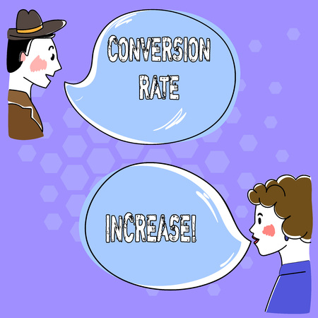 Conceptual hand writing showing Conversion Rate Increase. Business photo text Percentage of users who take a desired action Hand analysis Talking photo with Blank Color Speech Bubble