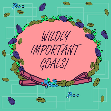 Word writing text Wildly Important Goals. Business concept for most important objective that needs special attention Wreath Made of Different Color Seeds Leaves and Rolled Cinnamon photo