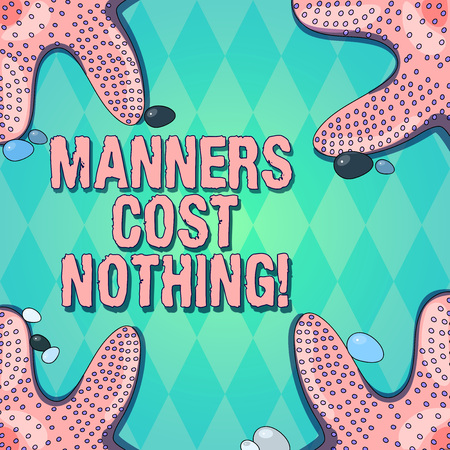 Text sign showing Manners Cost Nothing. Conceptual photo No fee on expressing gratitude or politeness to others Starfish photo on Four Corners with Colorful Pebbles for Poster Ads Cards