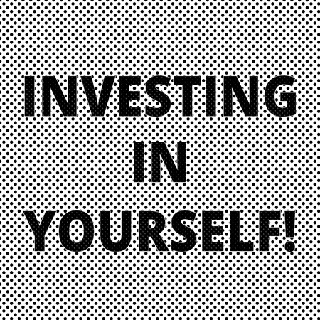 Conceptual hand writing showing Investing In Yourself. Business photo showcasing Learning new skill Developing yourself professionally Polka Dots Pixel Effect for Web Design and Optical Illusion