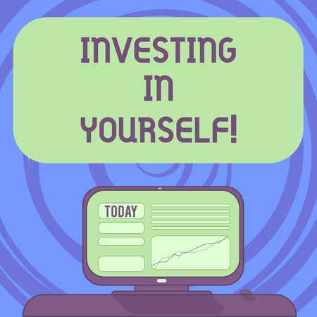 Text sign showing Investing In Yourself. Conceptual photo Learning new skill Developing yourself professionally Mounted Computer Screen with Line Graph on Desk Blank Color Text Box