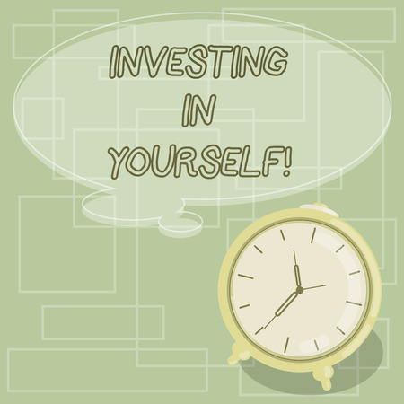 Text sign showing Investing In Yourself. Conceptual photo Learning new skill Developing yourself professionally Blank Color Thought Speech Bubble with Outline and Alarm Clock photo