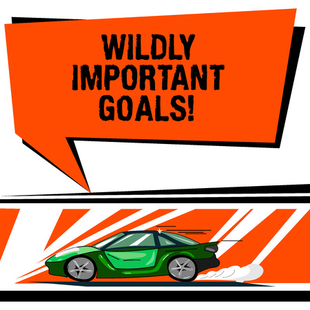 Word writing text Wildly Important Goals. Business concept for most important objective that needs special attention Car with Fast Movement icon and Exhaust Smoke Blank Color Speech Bubble