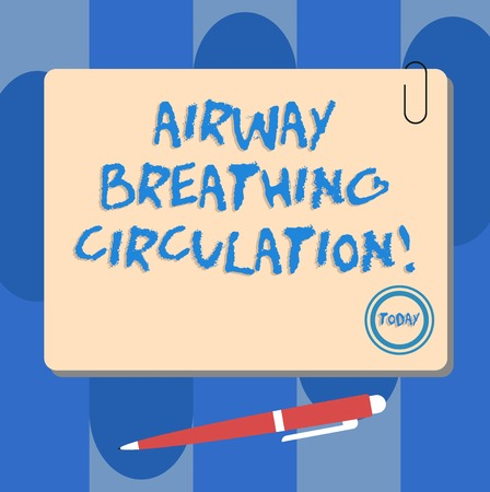 Writing note showing Airway Breathing Circulation. Business photo showcasing Memory aid for rescuers performing CPR Square Color Board with Magnet Click Ballpoint Pen and Clip