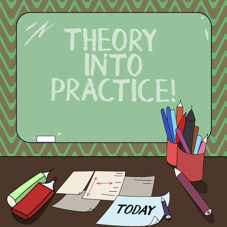Foto de Conceptual hand writing showing Theory Into Practice. Business photo showcasing Hands on learning Apply knowledge in actual situation Mounted Blackboard with Chalk Writing Tools Sheets on Desk - Imagen libre de derechos