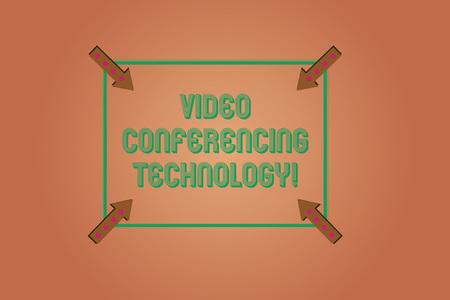 Handwriting text writing Video Conferencing Technology. Concept meaning People globally interacted through video data Square Outline with Corner Arrows Pointing Inwards on Color Background