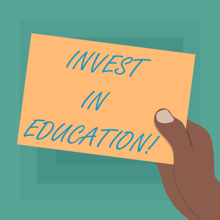 Conceptual hand writing showing Invest In Education. Business photo showcasing sponsor agrees provide student with funding for college Drawn Hu analysis Hand Holding Blank Color Paper Cardboard