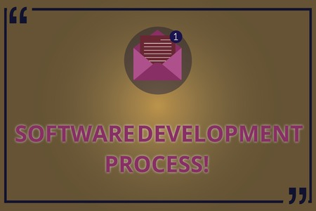 Writing note showing Software Development Process. Business photo showcasing Process of developing a software product Open Envelope with Paper Email Message inside Quotation Mark