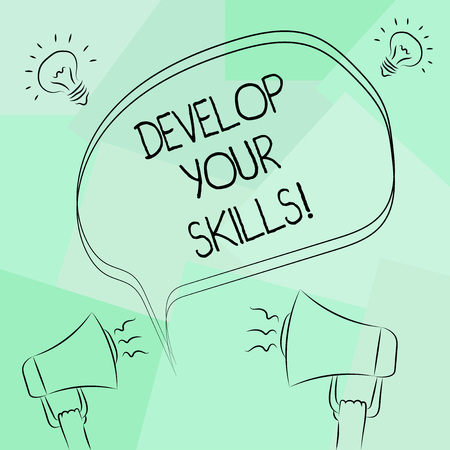 Foto de Conceptual hand writing showing Develop Your Skills. Business photo text improve ability to do something well over time Freehand Outline Sketch of Speech Bubble Megaphone Idea Icon - Imagen libre de derechos