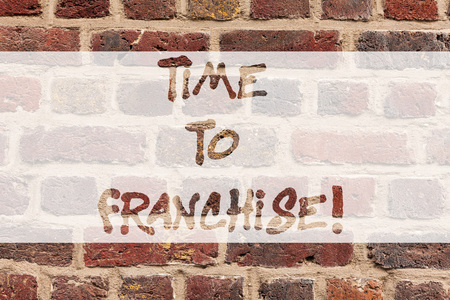 Writing note showing Time To Franchise. Business photo showcasing authorization by company make carry commercial activities Brick Wall art like Graffiti motivational call written on the wall