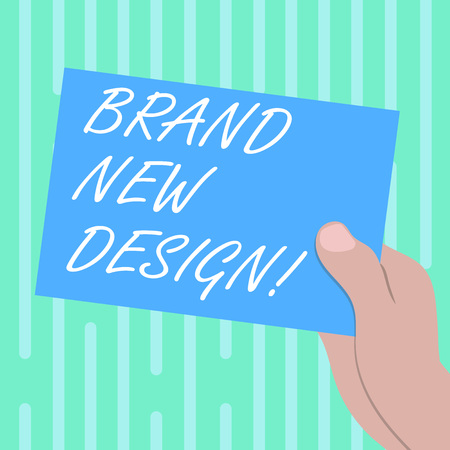 Word writing text Brand New Design. Business concept for something or product that has unique looking and features Drawn Hu analysis Hand Holding Presenting Blank Color Paper Cardboard photo
