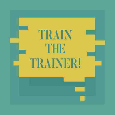 Photo pour Conceptual hand writing showing Train The Trainer. Business photo showcasing identified to teach mentor or train others attend class Speech Bubble in Puzzle Piece Shape for Presentation Ads - image libre de droit