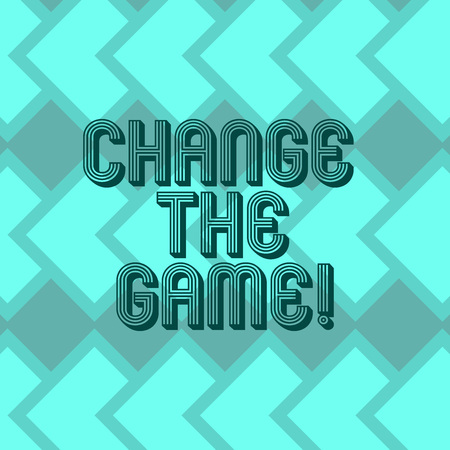 Photo pour Writing note showing Change The Game. Business photo showcasing Make a movement do something different new strategies Geometrical Blank Color Squares Overlapping in Seamless Repeat Pattern - image libre de droit