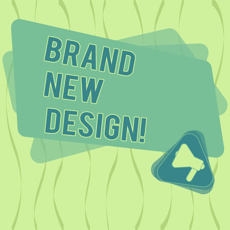 Writing note showing Brand New Design. Business photo showcasing something or product that has unique looking and features Megaphone Inside Triangle and Blank Color Rectangle for Announcement