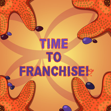 Writing note showing Time To Franchise. Business photo showcasing authorization by company make carry commercial activities Starfish on Four Corners with Pebbles for Poster Ads Cards