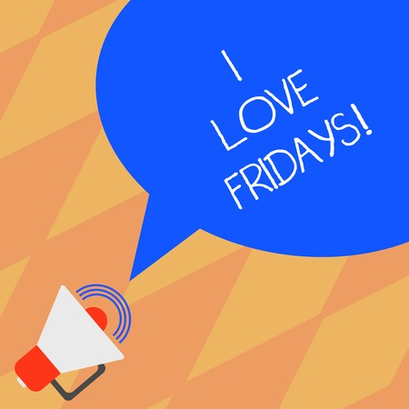 Photo pour Text sign showing I Love Fridays. Conceptual photo Affection for the start of the weekend enjoy days off Megaphone with Sound Volume Icon and Blank Color Speech Bubble photo - image libre de droit