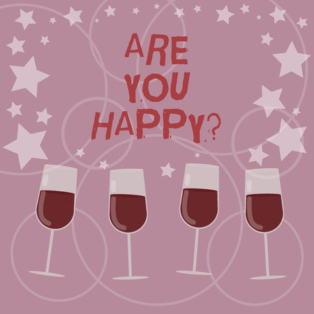 Foto de Word writing text Are You Happy. Business concept for Asking if you are fulfilled in your life enjoying moments Filled Cocktail Wine Glasses with Scattered Stars as Confetti Stemware - Imagen libre de derechos