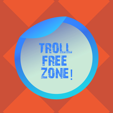 Photo pour Handwriting text writing Troll Free Zone. Concept meaning Social network where tolerance and good behavior is a policy Bottle Packaging Blank Lid Carton Container Easy to Open Foil Seal Cover - image libre de droit