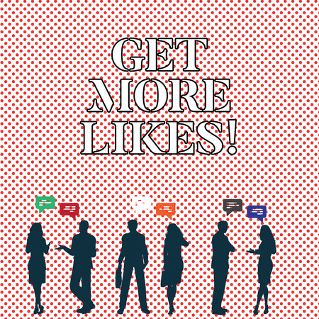 Photo pour Writing note showing Get More Likes. Business photo showcasing Recommendations to have additional followers social network - image libre de droit
