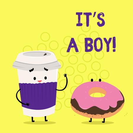 Photo pour Text sign showing It S A Boy. Conceptual photo Expecting a male baby cute blue colors a lot of car toys - image libre de droit