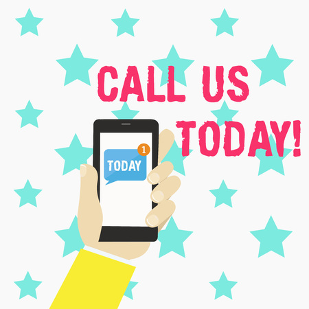 Conceptual hand writing showing Call Us Today. Business photo text Make a telephone calling to ask for advice or support